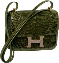 Hermes Limited Edition 18cm Shiny Vert Veronese Alligator & Agate Lizard Double Gusset Marquette Constance Bag with...