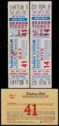 Baseball Collectibles:Tickets, 1981 and 1983 New York Yankees Full Ticket Lot of 3....