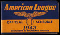 Baseball Collectibles:Others, 1942 Major League Baseball American League Pocket Schedule. ...