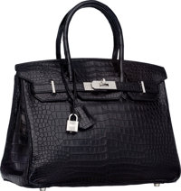 Hermes Extraordinary Collection 30cm Diamond, Matte Black Porosus Crocodile Birkin Bag with 18K White Gold Hardware