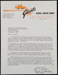 Baseball Collectibles:Others, 1950 Charles Stoneham Signed New York Giants Letter....