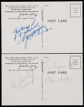 Boxing Collectibles:Autographs, Jack Dempsey and Others Signed Postcards (2)....