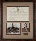 """Autographs:U.S. Presidents, Theodore Roosevelt Signed """"Rough Riders"""" Appointment with RelatedDocuments...."""