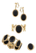 Estate Jewelry:Suites, Black Onyx, Gold Jewelry Suite. ... (Total: 5 Items)