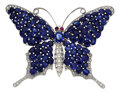 Estate Jewelry:Brooches - Pins, Sapphire, Diamond, White Gold Pendant-Brooch. ...