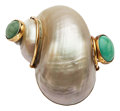 Estate Jewelry:Brooches - Pins, Shell, Turquoise, Gold Brooch, Seaman Schepps. ...