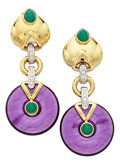 Estate Jewelry:Earrings, Amethyst, Chrysoprase, Diamond, Gold Earrings. ...