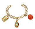 Estate Jewelry:Bracelets, Coral, Turquoise, Cultured Pearl, Gold Charm Bracelet. ...
