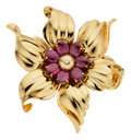 Estate Jewelry:Brooches - Pins, Garnet, Diamond, Gold Pendant-Brooch, Tiffany & Co.. ...