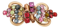 Retro Spinel, Gold Double-Clip-Brooch