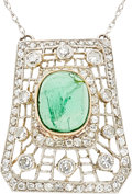 Estate Jewelry:Necklaces, Tourmaline, Diamond, Platinum, Gold Necklace. ...