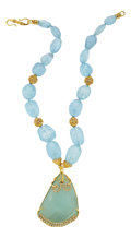 Estate Jewelry:Necklaces, Aquamarine, Diamond, Gold Necklace, Patricia Makena. ...