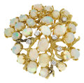 Estate Jewelry:Brooches - Pins, Opal, Diamond, Gold Brooch. ...