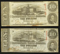 Confederate Notes:1863 Issues, T59 $10 1863(2) PF-19 Cr. 442.. ... (Total: 2 notes)
