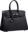 Luxury Accessories:Bags, Hermes Limited Edition 30cm So Black Calf Box Leather Birkin Bagwith PVD Hardware. N Square, 2010. Very GoodConditio...