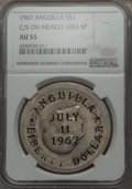 Anguilla, Anguilla: Provisional Government Counterstamped Dollar 1967 AU55NGC,...