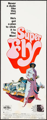 """Super Fly (Warner Brothers, 1972). Insert (14"""" X 36"""") & Uncut Press Book (12 Pages, 11"""" X 14""""..."""