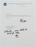 Football Collectibles:Others, 1983-87 George Allen Signed Letters Lot of 2....