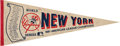 Baseball Collectibles:Others, 1981 New York Yankees Team Signed Pennant from The Bobby Murcer Collection. ...