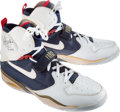 Basketball Collectibles:Others, 1992 Olympic Games David Robinson Game Issued & Signed USABasketball Dream Team Sneakers - Fischer Collection....