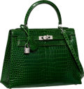 Luxury Accessories:Bags, Hermes Extraordinary Collection 25cm Diamond, Shiny Vert Emerald Sellier Kelly Bag with 18K White Gold Hardware. I Square,...