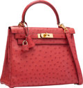 "Luxury Accessories:Bags, Hermes 28cm Rouge Vif Ostrich Retourne Kelly Bag with GoldHardware. I Square, 2005. Excellent Condition. 11""Widt..."