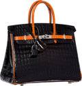Luxury Accessories:Bags, Hermes Special Order 25cm Shiny Black & Orange H Nilo CrocodileBirkin Bag with Ruthenium Hardware. H Square, 2004.Ex...