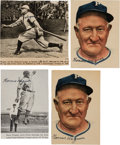 Baseball Collectibles:Photos, 1940's Honus Wagner Signed Newspaper Photographs Lot of 4 with FiveSignatures. ...