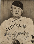 Baseball Collectibles:Photos, 1940's Cy Young Signed Newspaper Photograph. ...