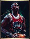 Basketball Collectibles:Others, 2000's Michael Jordan Signed Oversized Beninati Painting. ...