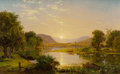 Fine Art - Painting, American:Antique  (Pre 1900), Jasper Francis Cropsey (American, 1823-1900). Preparing theBoats at Greenwood Lake, 1858. Oil on canvas. 14-1/4 x 22-3/...