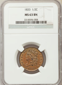 1833 1/2 C MS63 Brown NGC. NGC Census: (0/0). PCGS Population (88/100). Mintage: 120,000. Numismedia Wsl. Price for prob...