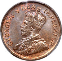 South Africa: George V Penny 1927 MS66 Brown PCGS