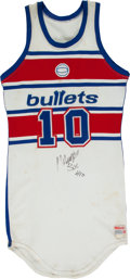 Basketball Collectibles:Uniforms, 1985-86 Manute Bol Game Worn, Signed Washington Bullets Jersey. ...