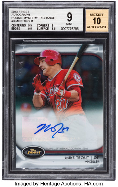 2012 Topps Finest Mike Trout Rookie Mystery Exchange Autograph Lot