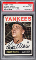 Autographs:Sports Cards, Signed 1964 Topps Roger Maris #225 PSA/DNA Authentic. ...