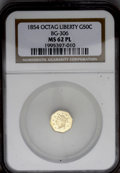 California Fractional Gold: , 1854 50C Liberty Octagonal 50 Cents, BG-306, R.4, MS62 ProoflikeNGC....