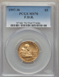 Modern Issues, 1997-W $5 F.D.R. Gold Five Dollar MS70 PCGS. PCGS Population (232). NGC Census: (462). Numismedia Wsl. Price for problem f...