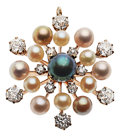 Estate Jewelry:Brooches - Pins, Diamond, Cultured Pearl, Gold Pendant-Brooch . ...