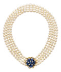 Estate Jewelry:Necklaces, Cultured Pearl, Sapphire, Diamond, Gold Necklace, Seaman Schepps....
