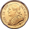 Italy:Papal States, Italy: Papal States. Pius IX gold 10 Lire 1867 R--XXII MS64 NGC,...