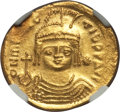 Ancients:Byzantine, Ancients: Maurice Tiberius (AD 582-602). AV lightweight solidus of23 siliquae (4.23 gm)....