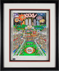 """Football Collectibles:Others, 2001 """"The Super Bowl: Celebrating 35 Years"""" Pop Art by Charles Fazzino Signed by Elway, Montana and Marino...."""
