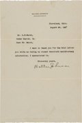 Baseball Collectibles:Others, 1927 Walter Johnson Signed Letter, PSA/DNA Gem Mint 10....