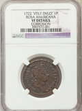 Colonials, 1722 PENNY Rosa Americana Penny, VTILE -- Corrosion -- NGC Details. VF. NGC Census: (1/3). PCGS Population (1/9)....