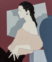Patrick Nagel (American, 1945-1984) Female in Profile Acrylic on canvas 48 x 40 in. Signed low