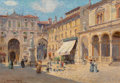 Fine Art - Painting, American:Antique  (Pre 1900), Colin Campbell Cooper (American, 1856-1937). The Piazza atVerona. Oil on canvas laid on board. 25 x 36 inches (63.5 x9...