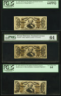 Fractional Currency:Third Issue, Fr. 1326, 1327 and 1328 50¢ Third Issue Spinners PCGS Very Choice New 64PPQ, 64 and PMG Choice Uncirculated 64.. ... (Total: 3 notes)