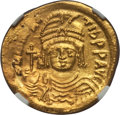 Ancients:Byzantine, Ancients: Maurice Tiberius (AD 582-602). AV solidus (23mm, 4.49 gm,6h)....