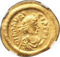 Ancients:Byzantine, Ancients: Maurice Tiberius (AD 582-602). AV semissis (2.25 gm)....